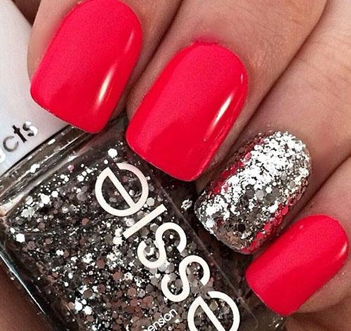 Яркие красные ногти дизайн