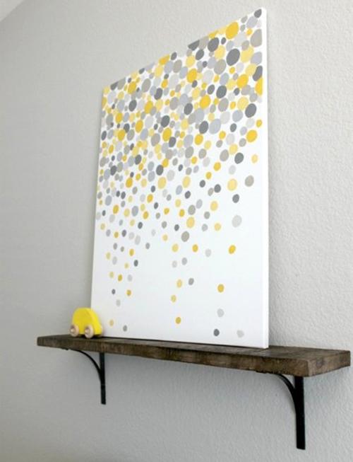 9d gray and yellow dot painting a186ecc342642fd06f57cd3d571188e8